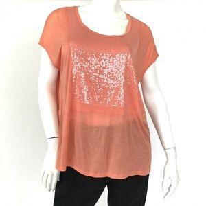 ESCADA SPORT modal/silk/cashmere sequin cap sleeve